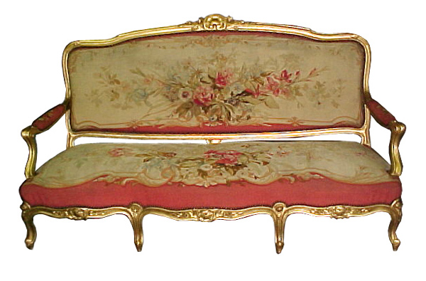 38.4604 5-Piece French Parlour Suite with Original Aubusson Tapestry & 24K Gold Gilt Frames