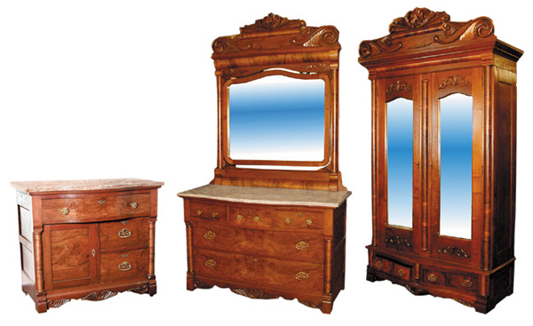 49.743 19th C.  American 4 pc. Walnut & Burl Bedroom Suite