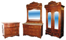 49.743 19th C.  American 4 pc. Walnut & Burl Bedroom Suite