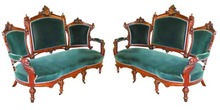 38.4942 Pair of 19th C. Walnut Victorian Sofas by John Jelliff