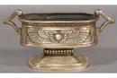 7399 Three piece Egyptian Revival nickel over bronze jardiniere set circa 1920