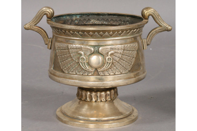 7399 Three piece Egyptian Revival nickel over bronze jardiniere set circa 1920