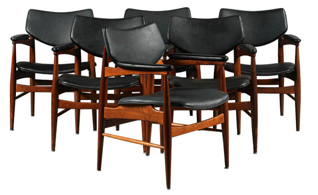 7400 A set of six mid century modern labeled Thonet arm chairs with vinyl backs and seats circa 1950