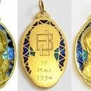 Vintage 18 K Gold Plique-à-Jour Virgin Mary Large Pendant Medal 1934 - Pristine and Unique
