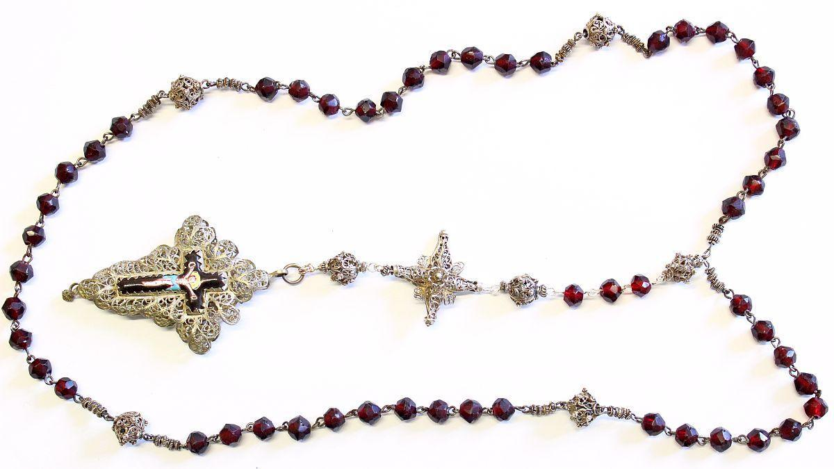 Exceptional 19th Century Bavarian Garnet & Filigree Catholic Rosary Complete w. Credo and Reliquary Porcelain Inlay Cross