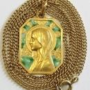 Exceptional Vintage 18 K Gold Chain AND Plique-à-Jour Virgin Mary Pendant Medal 1930's - Pristine and Unique