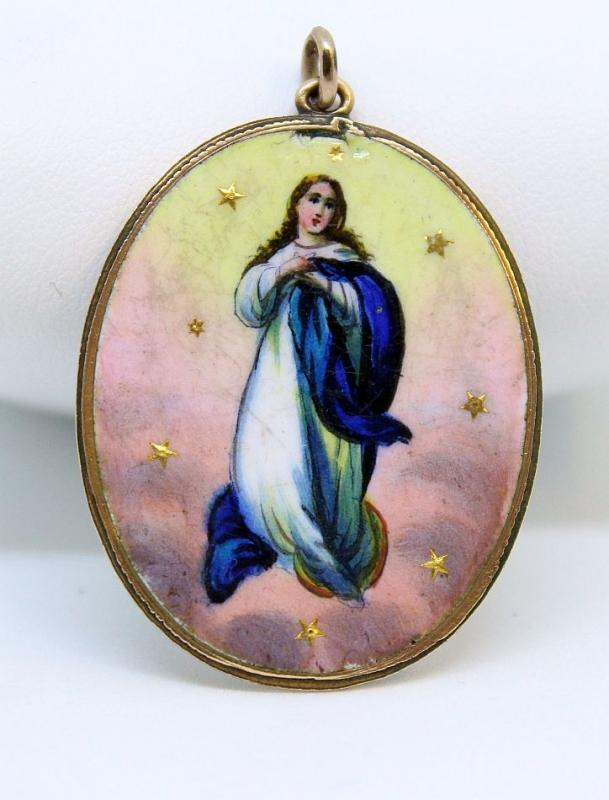 Late XIXth Cent Vintage Medal Mary's Assumption Hand Painted in 18K Gold Frame