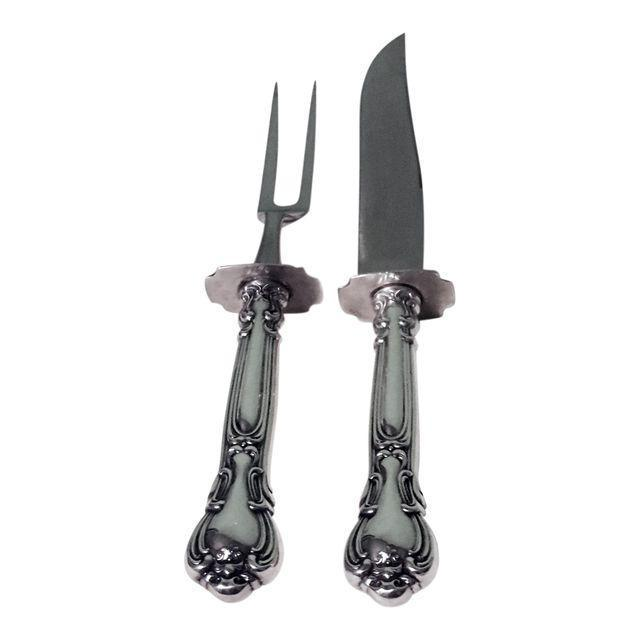 Gorham Chantilly Sterling Silver Carving Set - a Pair