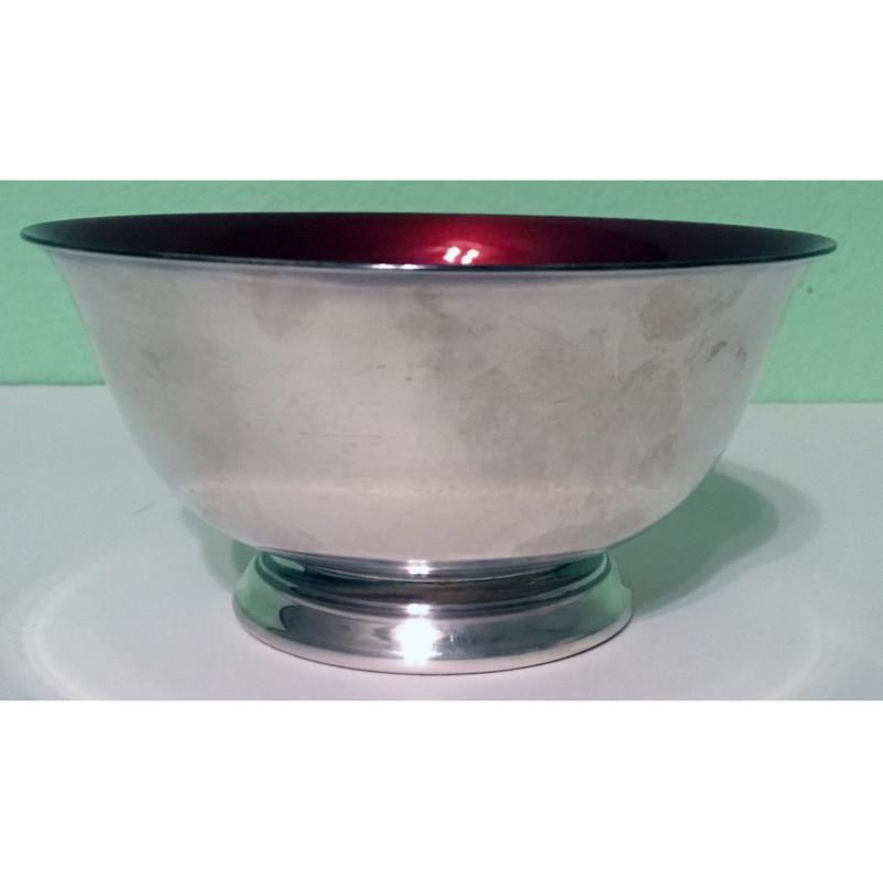 Silverplate Paul Revere Bowls with Red Enamel Interior - Set of 4