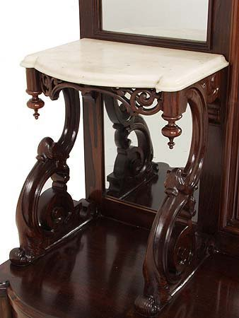 Rosewood Belter Marble Top Etagere