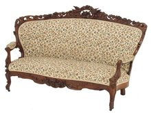 Rosewood bird carved Victorian sofa