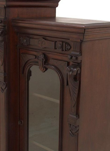 Three door walnut Victorian bookcase