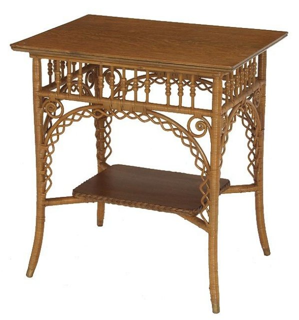 Natural finish Victorian wicker table