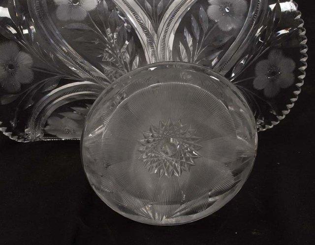 Huge cut glass basket