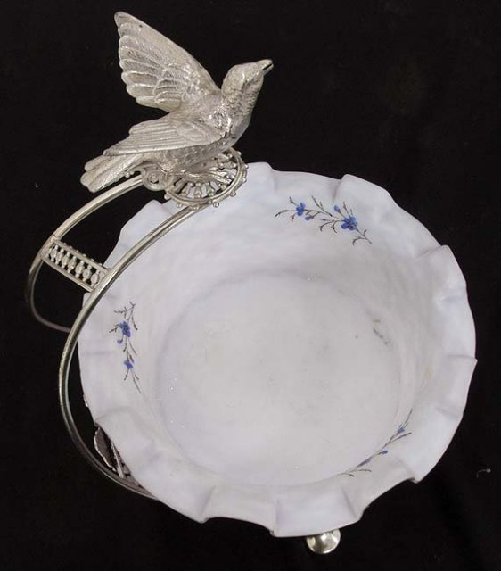 Victorian satin glass basket with bird