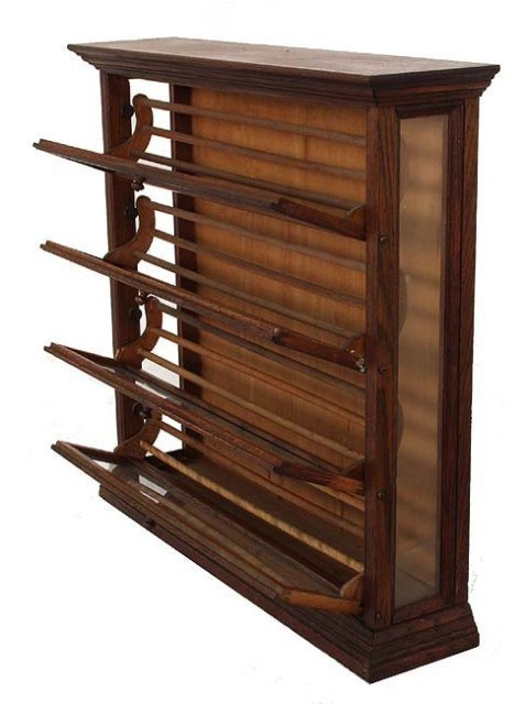 Oak country store ribbon cabinet