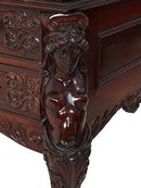 Figural carved Victorian mahogany partners desk