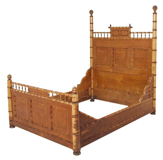 Victorian maple faux bamboo full size bed