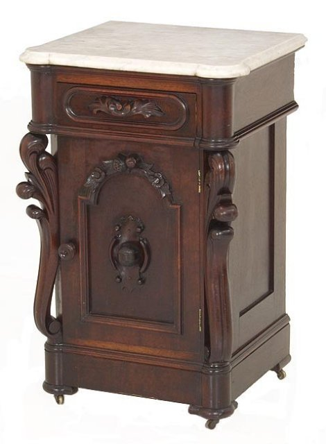 Walnut marble top half commode