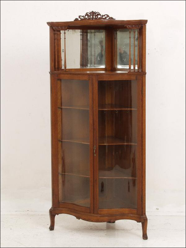 oak spindled china cabinet