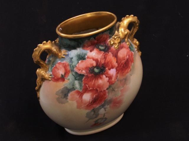 Limoge Dragon handled vase