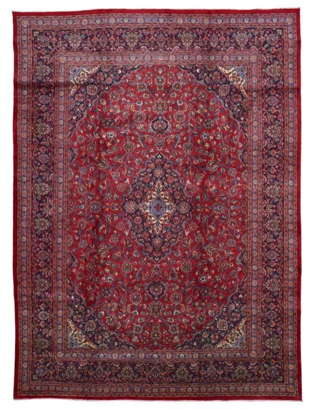 Vintage Handmade Kashan Red Wool Oriental Rug 10'1 x 12'11