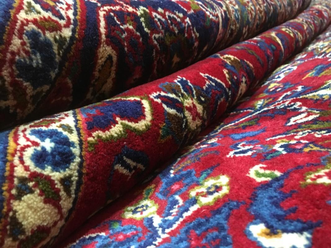 Vintage Handmade Kashan Blue Wool Oriental Rug 9'7 x 13'1
