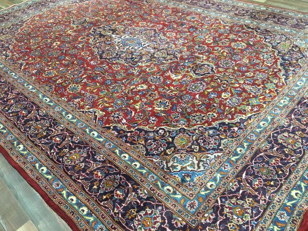 Hand Made Vintage Kashan Red/ Blue Wool Oriental Area Rug 9'5 x 12'7