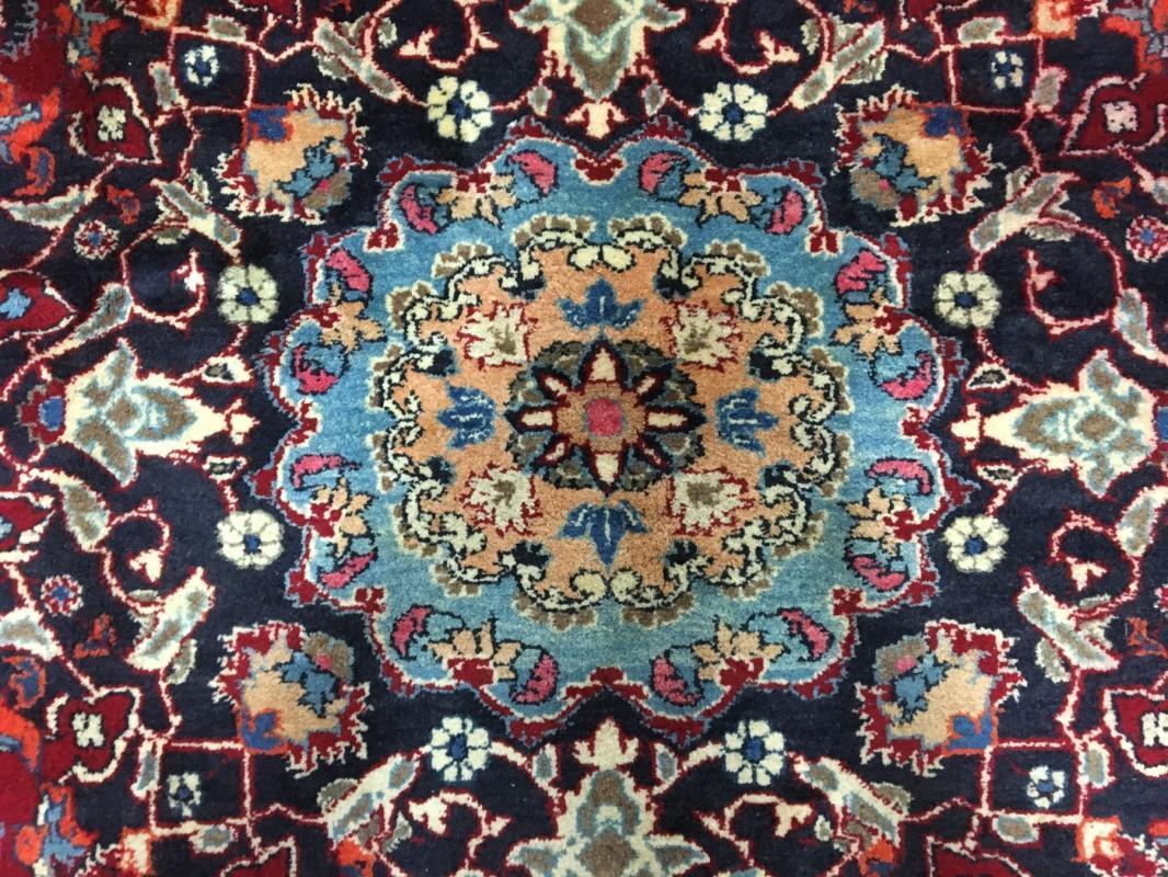 Vintage Handmade Mashad Red Wool Oriental Rug 8'8 x 12'