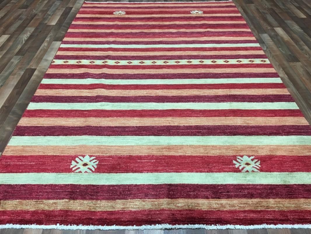 Vintage Handmade Gabbeh Red Wool Oriental Rug 6'1 x 9'4