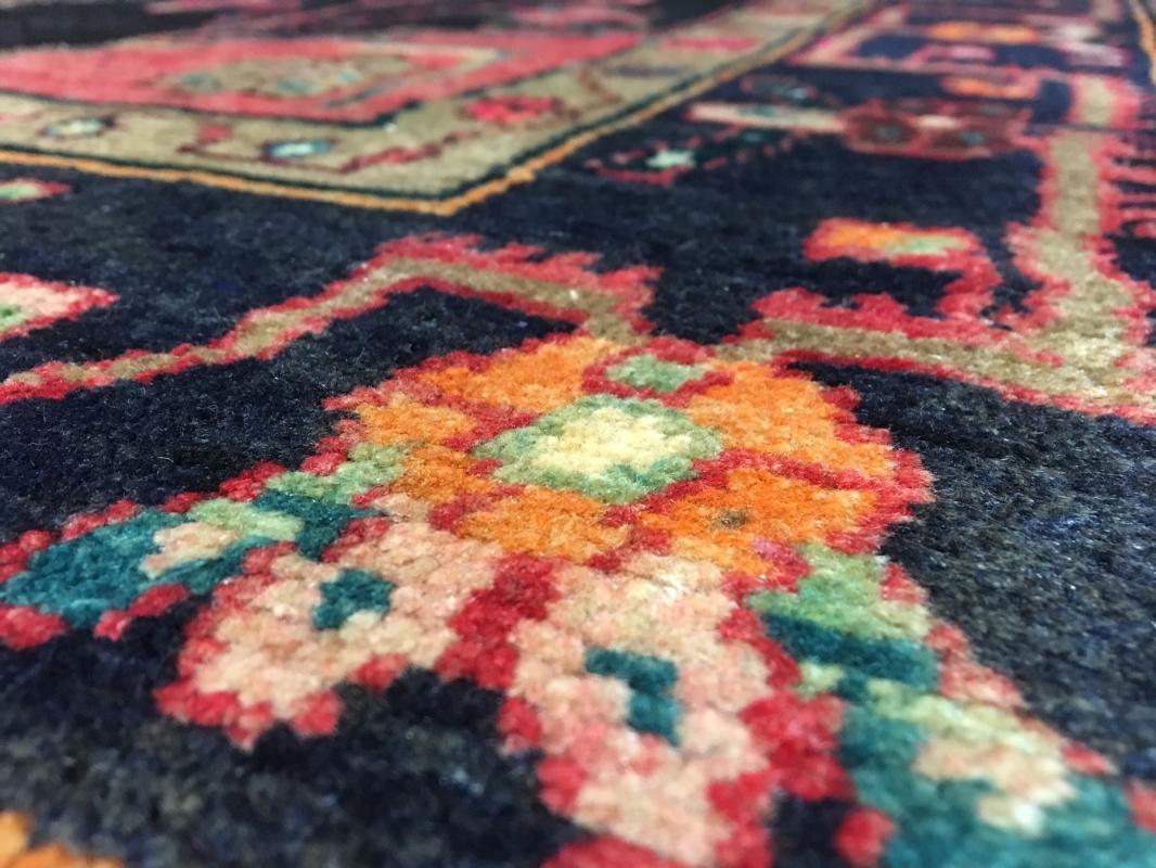 Handmade Vintage Persian Hamadan Pink & Black Oriental Runner 4'11 x 9'6