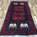 Handmade Vintage Persian Hamadan Black & Red Oriental Runner 4' x 8'5