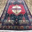 Handmade Vintage Hamadan Black & Beige Wool Oriental Rug 4'5 x 10'2
