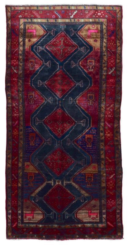 Antique Handmade Hamadan Black Wool Oriental Runner 4'9 x 9'5)