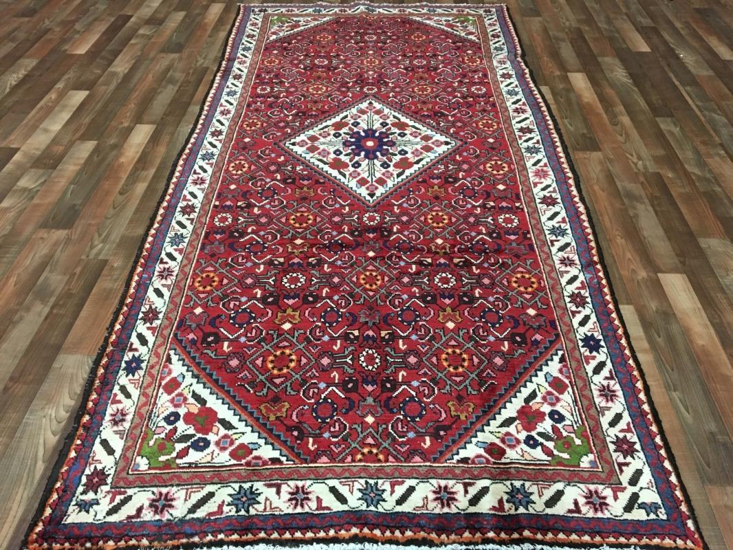 Handmade Antique Hamadan Beige Wool Runner Rug 4'9 x 10'