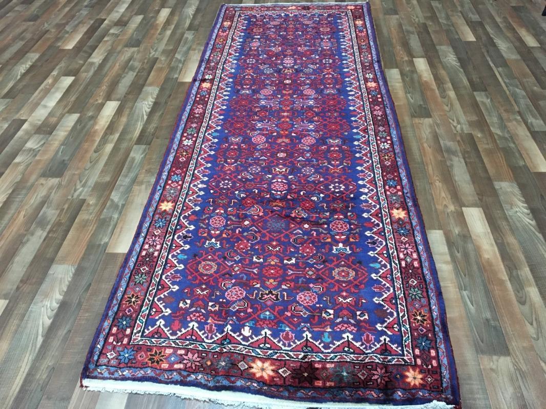 Handmade Antique Hamadan Red & Blue Wool Runner Rug 3'10 x 10'4