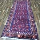 Handmade Vintage Hamadan Red & Blue Wool Runner Rug 3'10 x 10'4