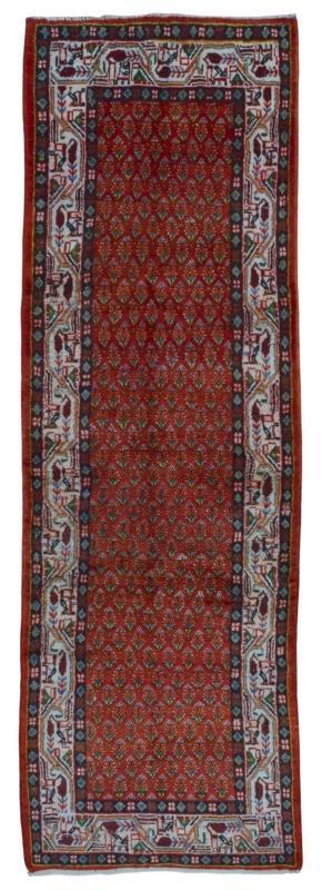 Handmade Vintage Hamadan Red Wool Runner Rug 3'6 x 10'8