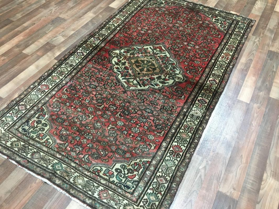 Handmade Antique Persian Hamadan Oriental Area Rug 3'11 x 7'1