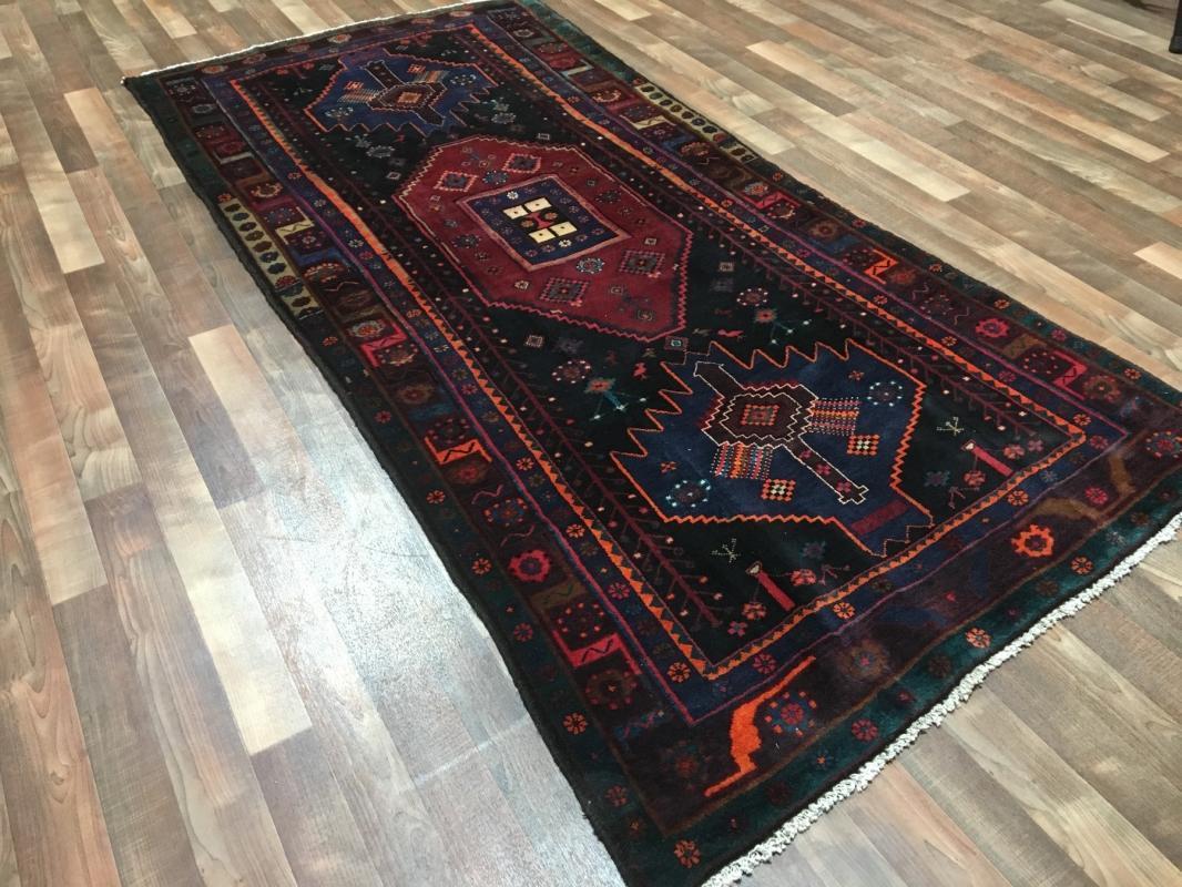 Vintage Handmade Persian Hamadan Oriental Runner Rug 4'4 x 9'2