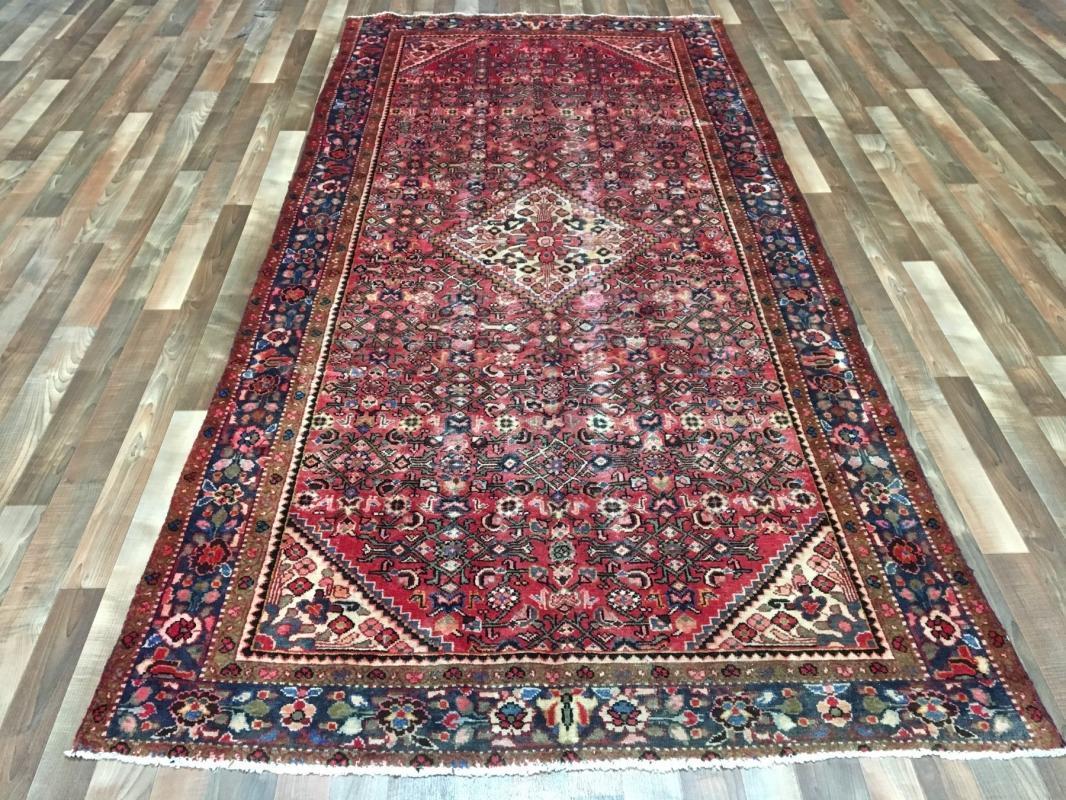 Handmade Antique Persian Hamadan Red Oriental Rug 5'1 x 10'8