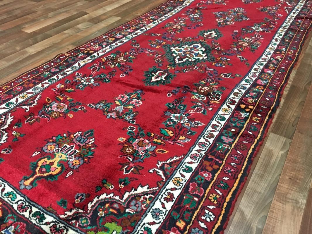 Handmade Antique Persian Hamadan Red Oriental Runner 3'11 x 10'1