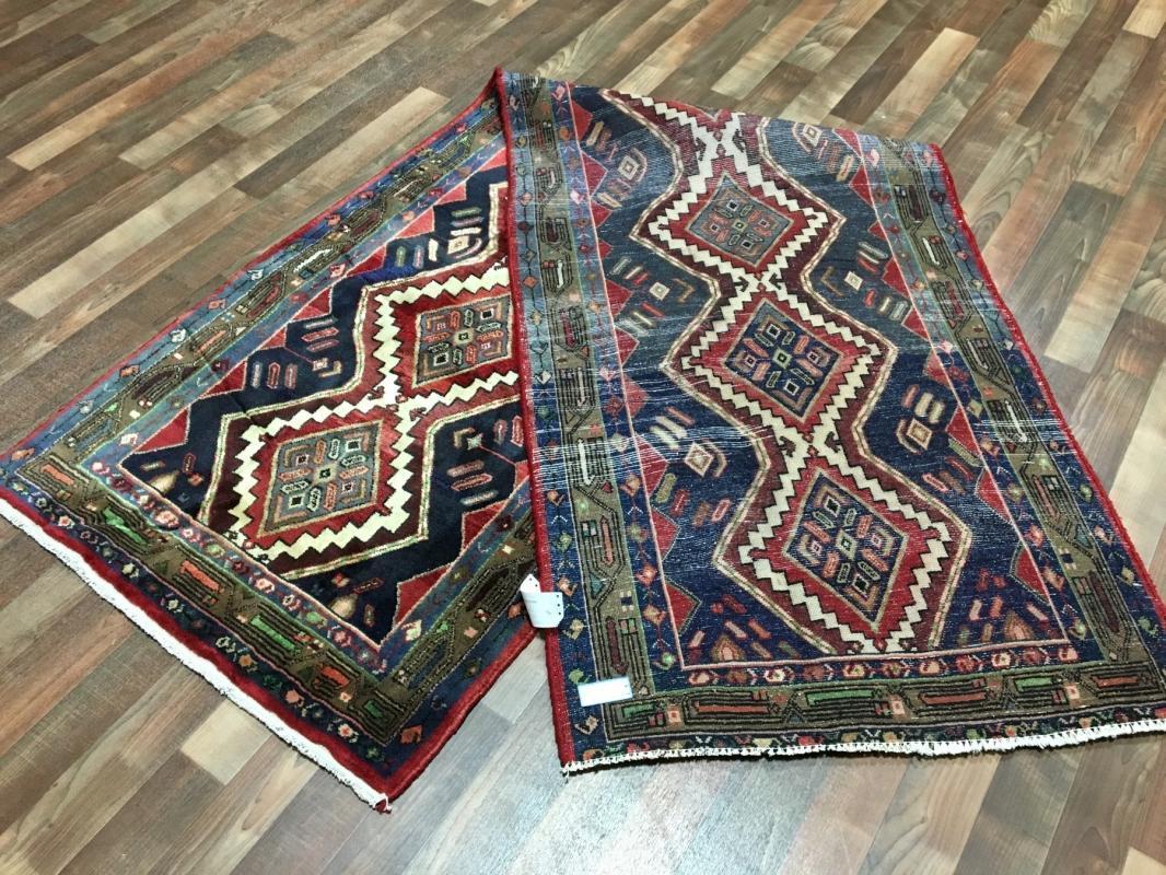 Handmade Antique Persian Hamadan Red Oriental Wool Runner 2'11 x 9'10