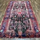 Handmade Antique Persian Hamadan Black Oriental Runner 4'10 x 9'10