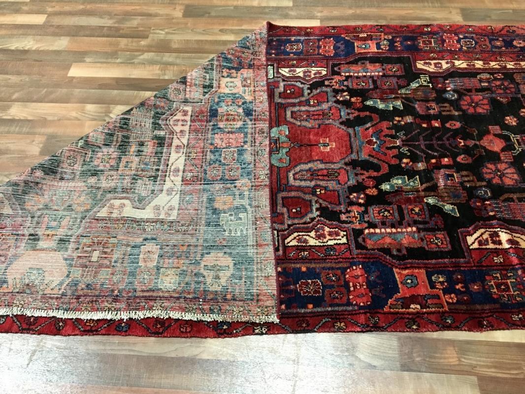Handmade Vintage Persian Hamadan Black Oriental Runner 4'10 x 9'10