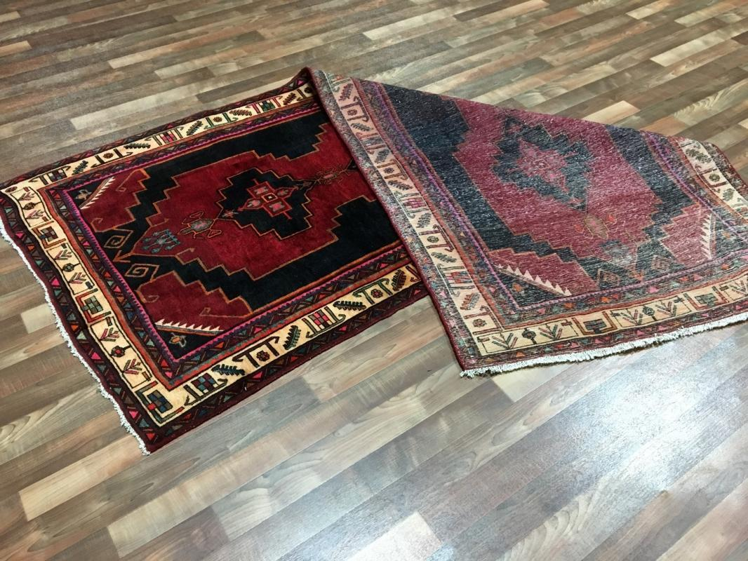 Handmade Antique Persian Hamadan Red Oriental Runner 4'1 x 9'7
