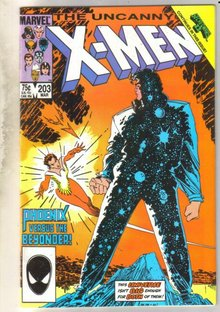 Uncanny X-men #203 writing on title page comic book near mint 9.4