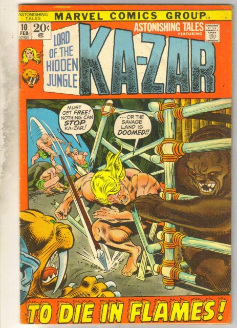 Astonishing Tales #10 (Kazar) comic book very good 4.0