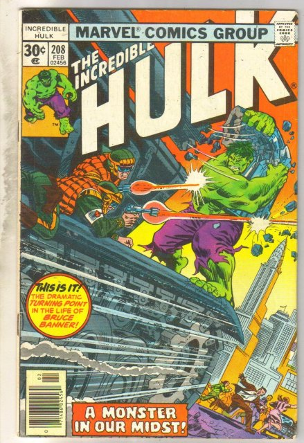 Incredible Hulk #208 comic book very good 4.0