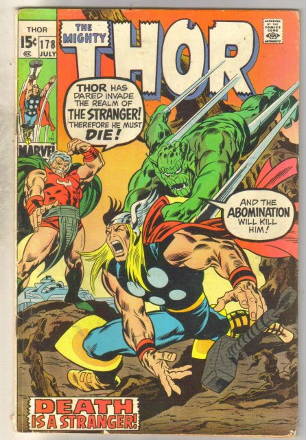 Mighty Thor #178 comic book very good/fine 5.0